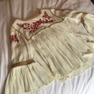 Ivory Blouse with Floral Embellishments
